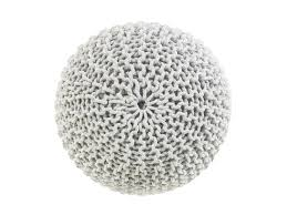ottoman floor cushion knitted pouffe light grey 50x35 cm