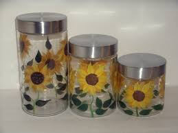 Glass Kitchen Canister Sets by 28 Sunflower Canisters For Kitchen Susan Winget Sunflower