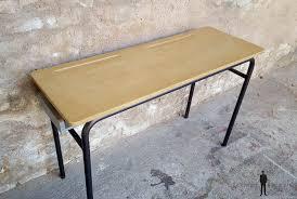 bureau ecolier en bois ancien d école 2 places bois et métal gris clair