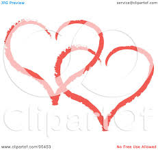 royalty free rf clipart illustration of a red heart outline