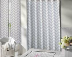 Gray Chevron Shower Curtain Shower Curtains U0026 Rings Etsy