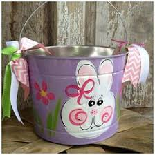 painted easter buckets bunny personalized painted easter pail 25 00 via etsy