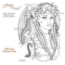 fira drake fairy tangles 8x10 digital coloring book
