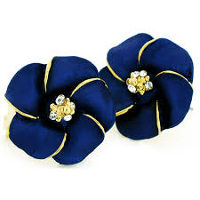 navy blue earrings navy blue hawaiian plumeria swarovski flower earrings