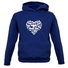 love heart bats kids childrens hoodie heart shape bats 9