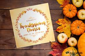 create a colorful thanksgiving dinner invitation template in