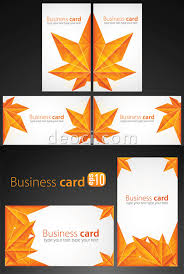 Business Card Eps Template Free Vector Maple Leaf Origami Business Card Background Design