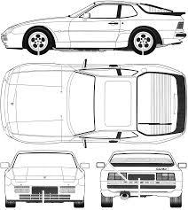 porsche vector car blueprints porsche 944 turbo blueprints vector drawings