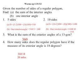 Regular Pentagon Interior Angles Warm Up 1 31 12 Given The Number Of Sides Of A Regular Polygon