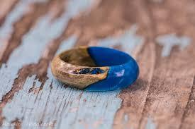 fusion wedding band blue white clear acrylic wood fusion ring maple burl birch