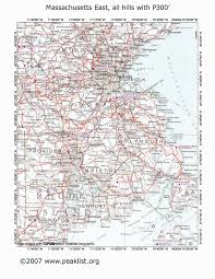 Map Of Eastern Massachusetts by Peaklist Prominence Lists And Maps