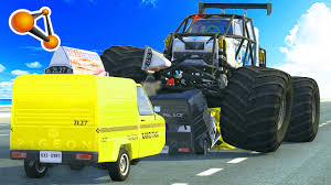 monster truck crash videos youtube beamng drive ibishu pigeon monster truck crash testing youtube