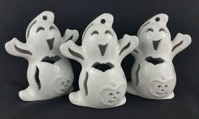 happy halloween sign black and white halloween ceramic ghost votive candle holder lot 3 happy jolly bat