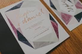 modern gemstone copper foil wedding invitations oh so beautiful