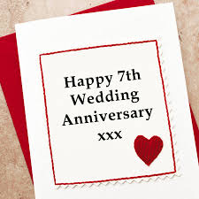 seventh anniversary gifts handmade 7th wedding anniversary card by arnott cards