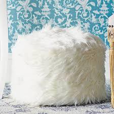 Fuzzy White Ottoman White Fuzzy Ottoman Wayfair