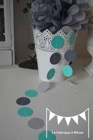 deco chambre turquoise gris guirlande pastille cousue rond papier turquoise gris clair