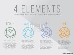 nature 4 elements circle logo sign water earth air