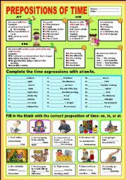 english teaching worksheets prepositions of time