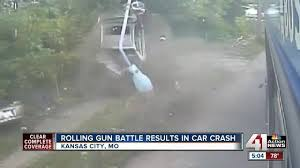 video rolling gun battle ends in car crash kshb com 41 action news