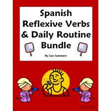 reflexive verbs bundle vocabulary 9 worksheets skit quiz u0026 more