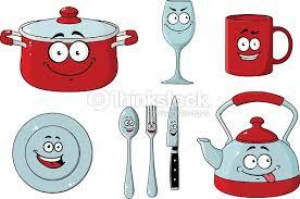 dessin ustensile de cuisine dessin animé ensemble de vaisselle et dustensiles de cuisine