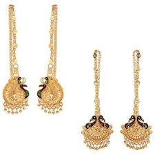 kaan earrings gold plated kaan chain mayur earrings by goldnera buy gold plated