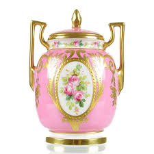 Chinese Hand Painted Porcelain Vases Minton Hand Painted Rose Pink Porcelain Vase With Raised Gold