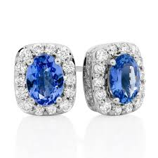 tanzanite stud earrings earrings with tanzanite 3 4 carat tw of diamonds in 14kt white gold
