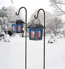 solar stained glass cardinal lantern landscape path