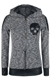grey hoody with black pleather skull applique pleather