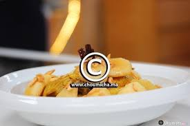 cuisine choumicha poulet recette tajine de poulet aux pommes caramélisées