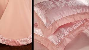 pink luxury bedding set satin jacquard bedspread embroidered