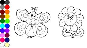 how to draw and coloring a flower with butterfly art of colour
