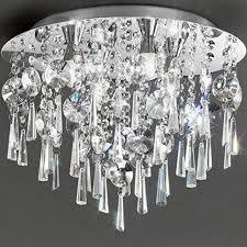 franklite 450mm 6 light crystal flush ip44 bathroom ceiling