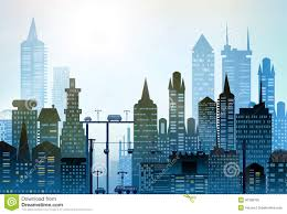 Modern City by Modern City Illustration With Skyscrapers Stock Illustration