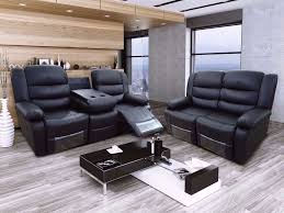 Living Room Furniture On Finance Raymana Bonded Leather Recliner Sofa Set With Pull Down Drink