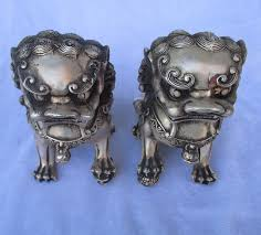 foo dog statues collectible tibetan silver carved 1 pair fu foo dog statue