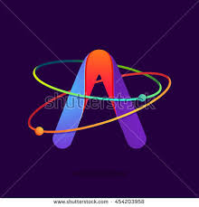 letter logo atoms orbits lines bright stock vector 454203958