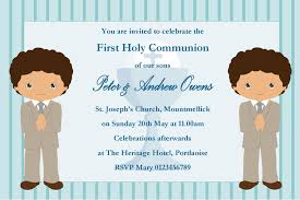 Holy Communion Invitation Cards Samples Personalised First Communion Invitations Boy Twins New Design 2