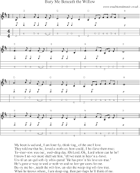music score and mandolin tabs for bury me beneath the willow