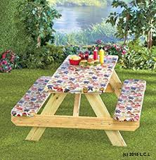 3 piece fitted picnic table bench covers amazon com 3 piece fitted picnic table bench seat cover set