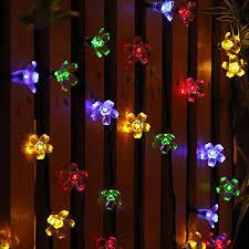 solar string lights solar string lights outdoor flower fairy light 50 led multi color
