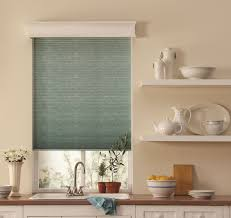 decorating grey bali cellular shades with shelves and sink with