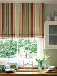 diy kitchen curtain ideas decorations cheerful atmosphere created by rainbow striped