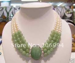 pearl necklace jewelry store images Wholesales design charming 3 rows green jade freshwater pearl jpg