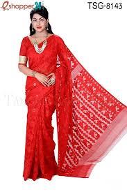 bangladeshi jamdani saree online tangail moslin silk jamdani saree tsg 8143 online shopping in
