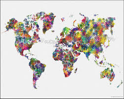 Large World Map Poster by Flowers World Map Map Of The World World Map Map Of The