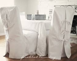 custom shabby chic parsons dining chair covers in white canvas cotton
