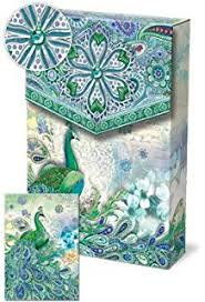 punch studio pouch note cards 57938 royal peacock